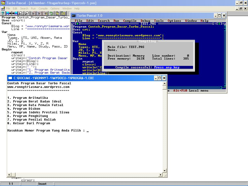 Contoh Program Dasar Turbo Pascal